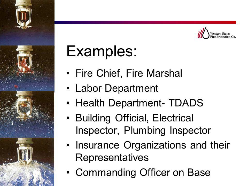 Examples: Fire Chief, Fire Marshal Labor Department