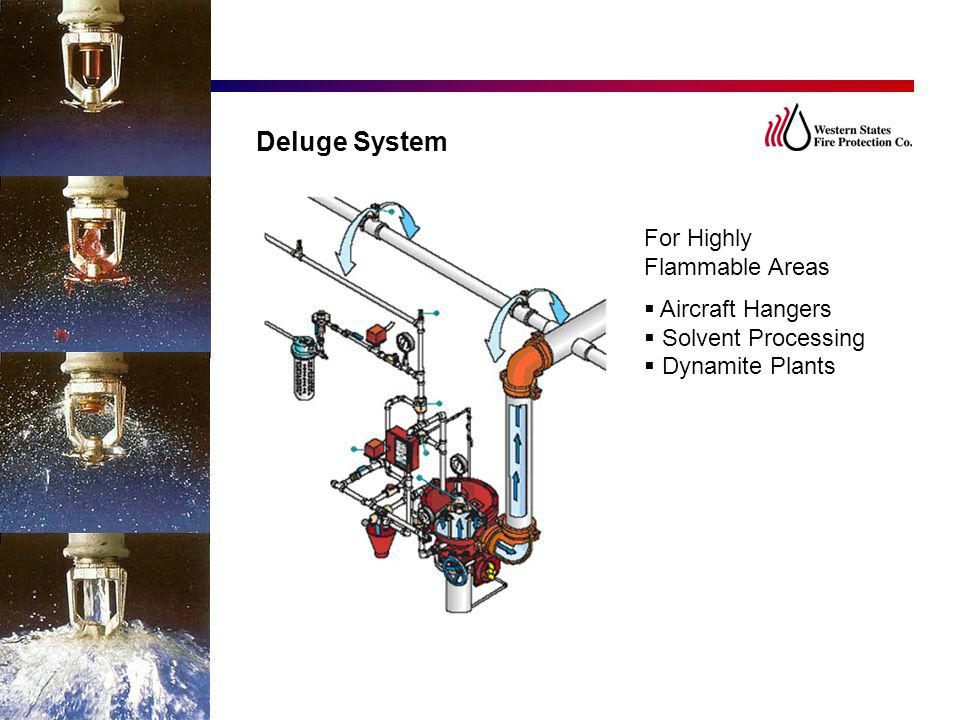 Deluge System For Highly Flammable Areas Aircraft Hangers