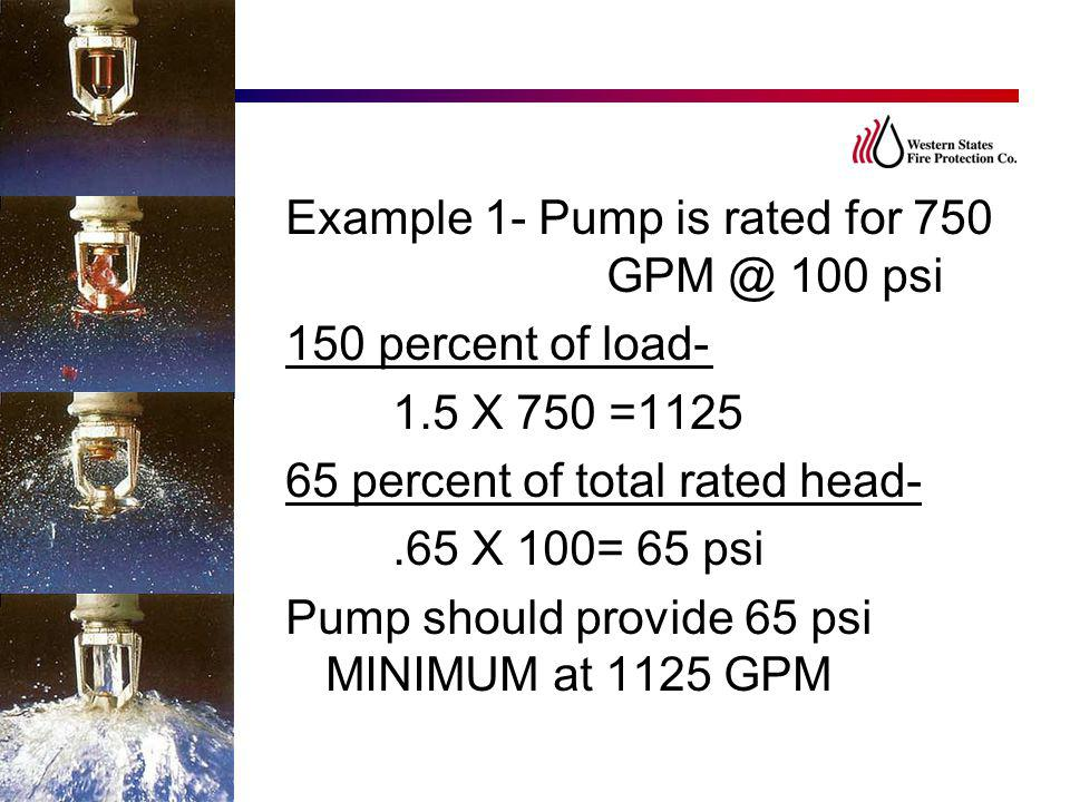 Example 1- Pump is rated for 750 GPM @ 100 psi