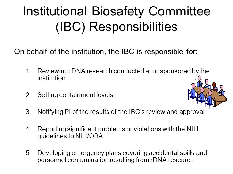 Institutional Biosafety Committee (IBC) Responsibilities