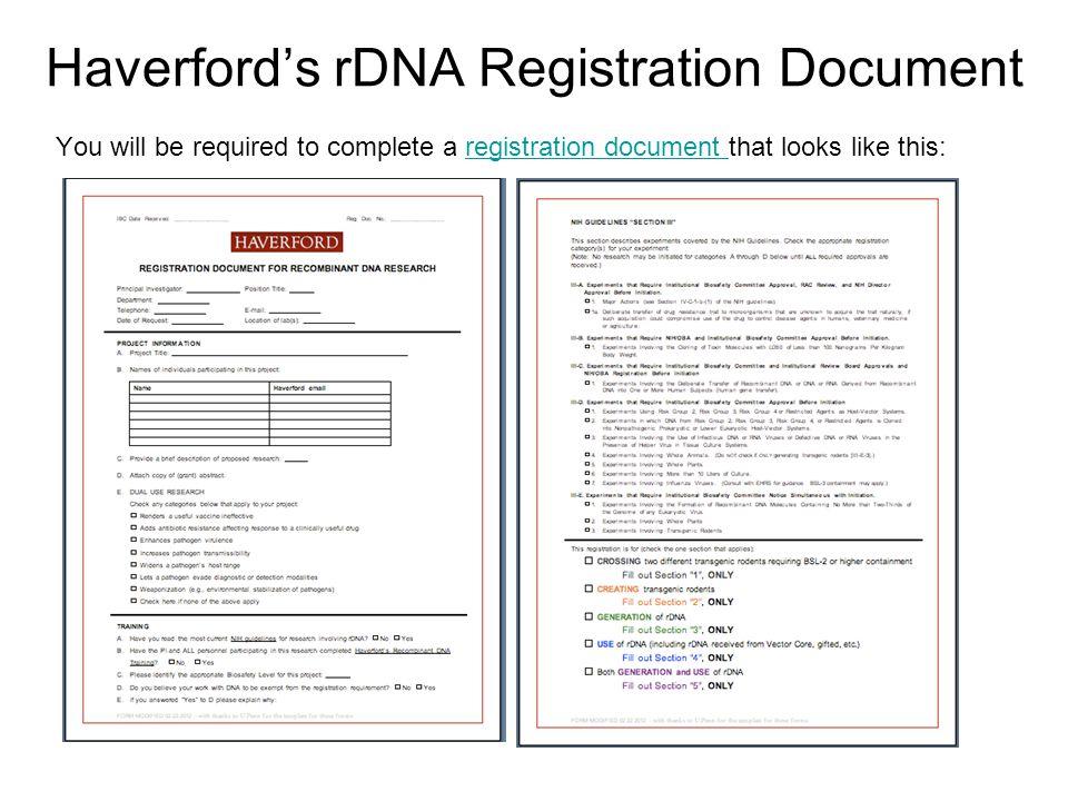 Haverford's rDNA Registration Document