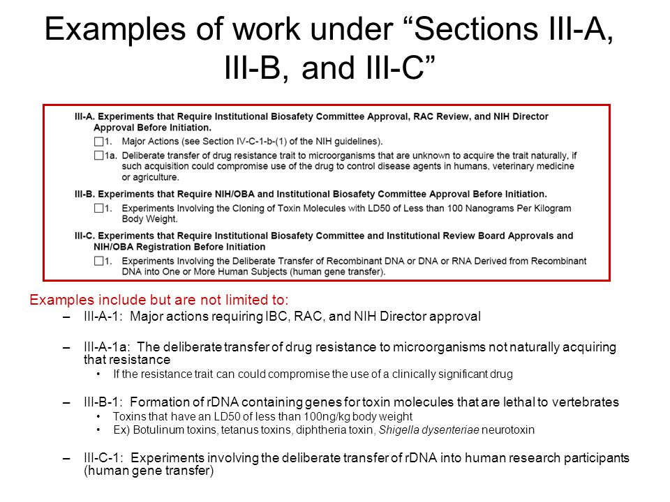 Examples of work under Sections III-A, III-B, and III-C