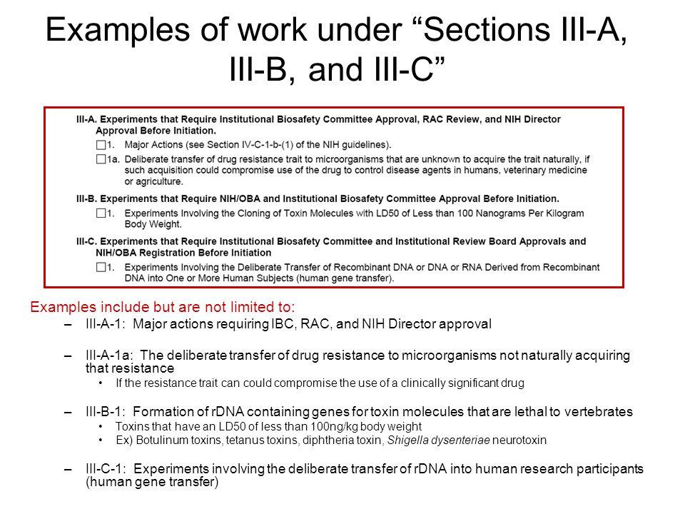 Examples of work under Sections III-A, III-B, and III-C