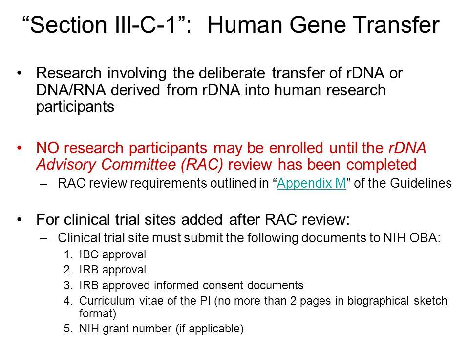 Section III-C-1 : Human Gene Transfer