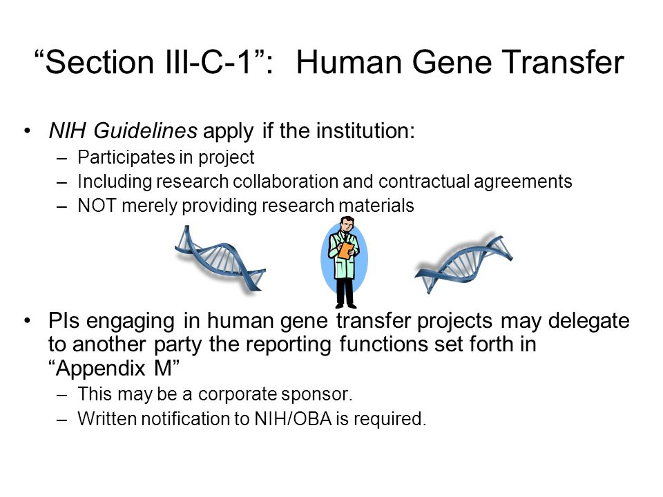Section III-C-1 : Human Gene Transfer