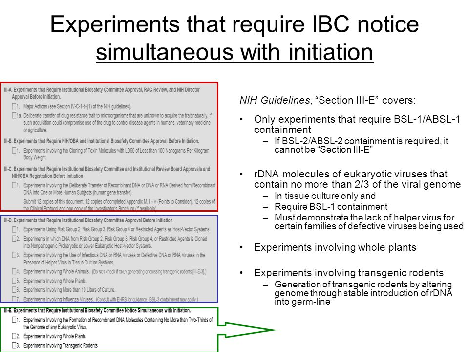 Experiments that require IBC notice simultaneous with initiation