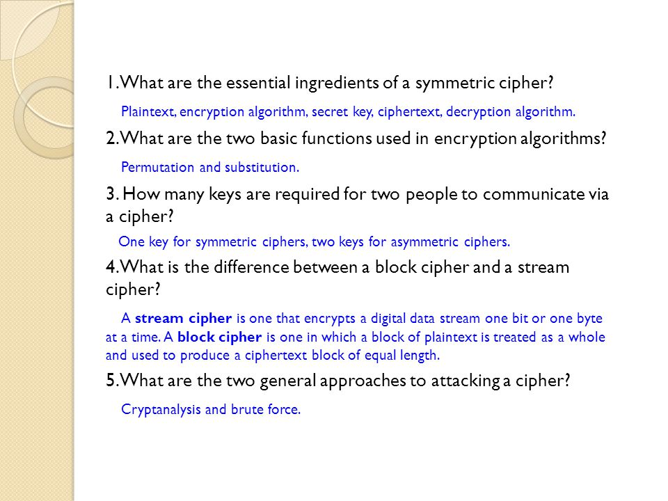 1. What are the essential ingredients of a symmetric cipher