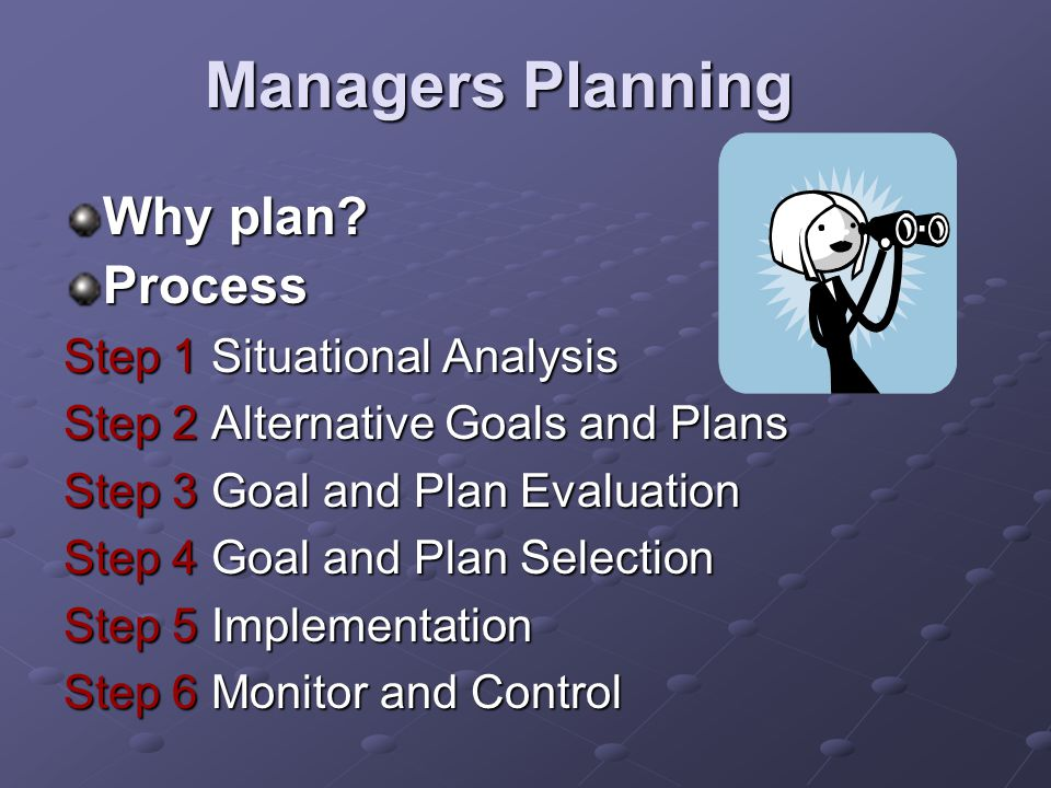 Managers Planning Why plan Process Step 1 Situational Analysis