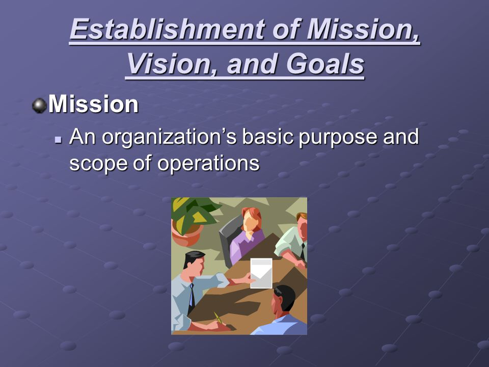 Establishment of Mission, Vision, and Goals