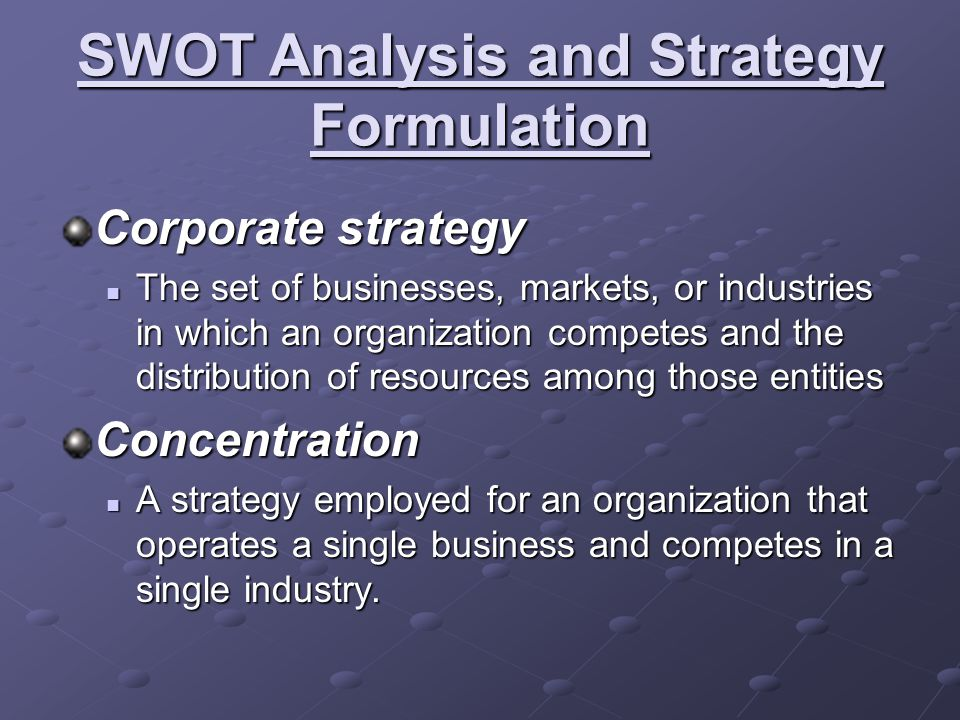 SWOT Analysis and Strategy Formulation