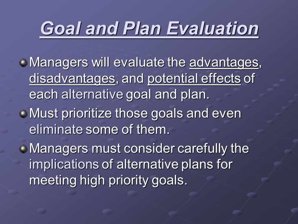 Goal and Plan Evaluation