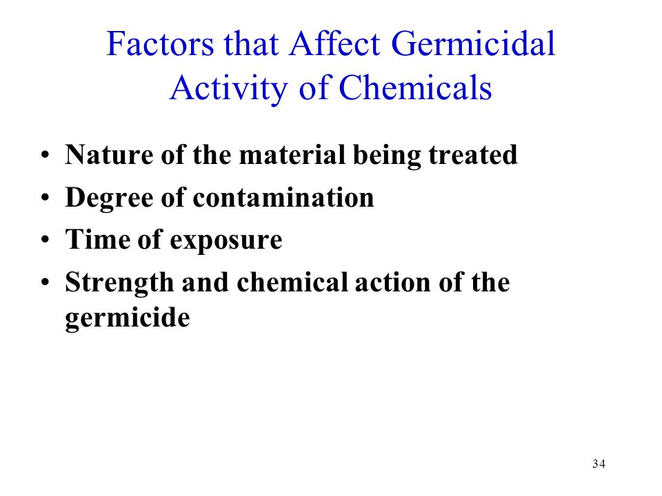 Factors that Affect Germicidal Activity of Chemicals