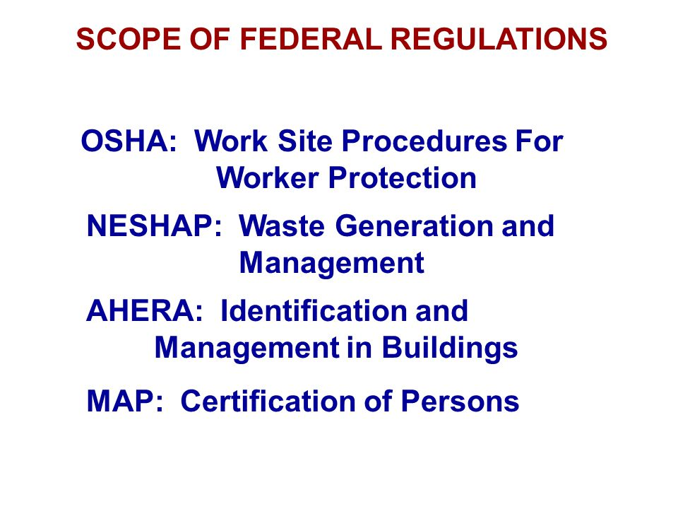 SCOPE OF FEDERAL REGULATIONS