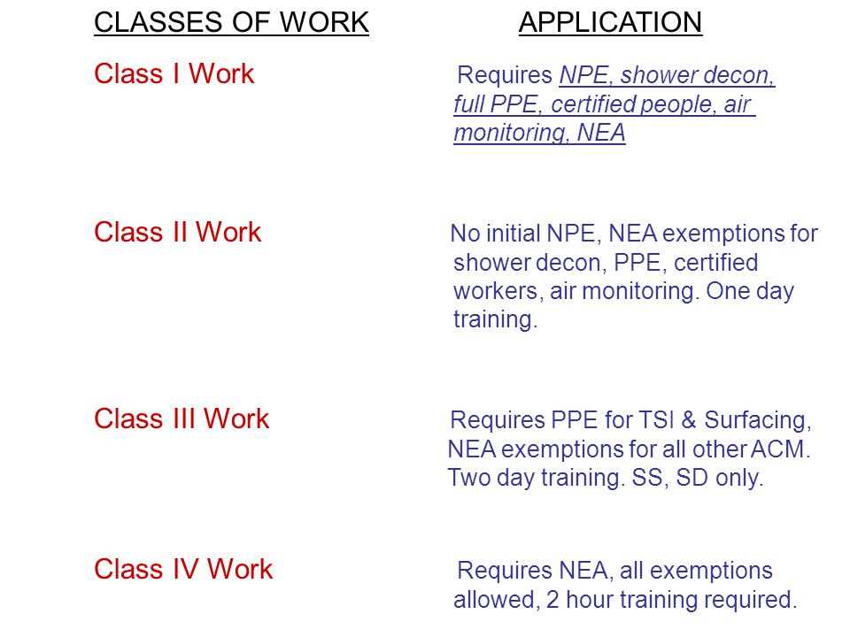 CLASSES OF WORK APPLICATION