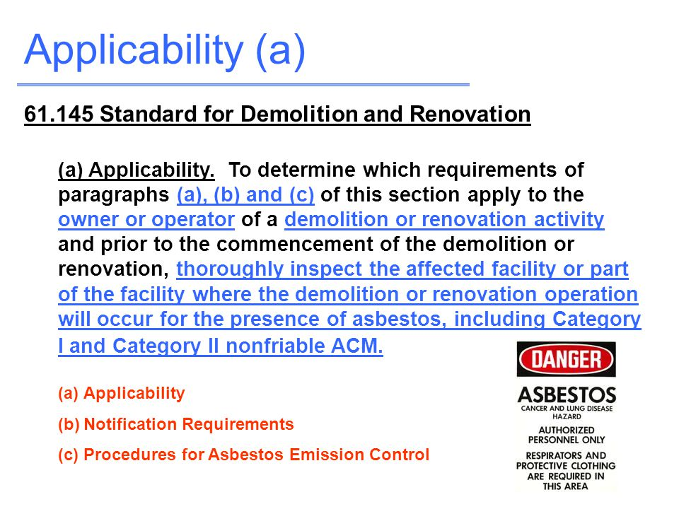 Applicability (a) 61.145 Standard for Demolition and Renovation