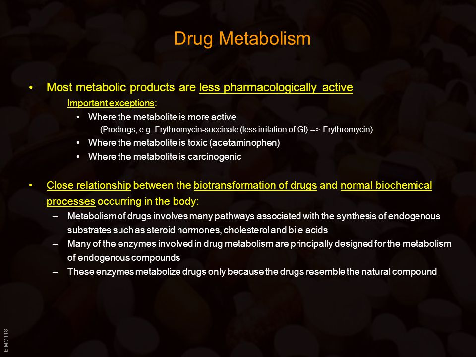 Drug Metabolism Most metabolic products are less pharmacologically active. Important exceptions: Where the metabolite is more active.