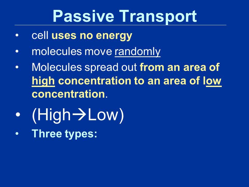 Passive Transport (HighLow) cell uses no energy