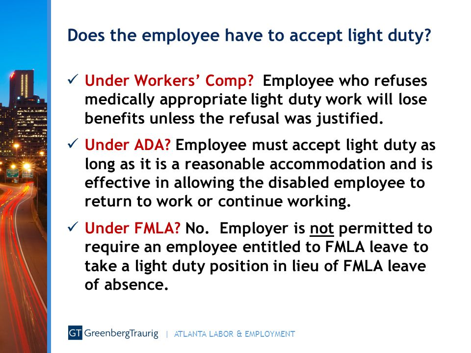 Does the employee have to accept light duty