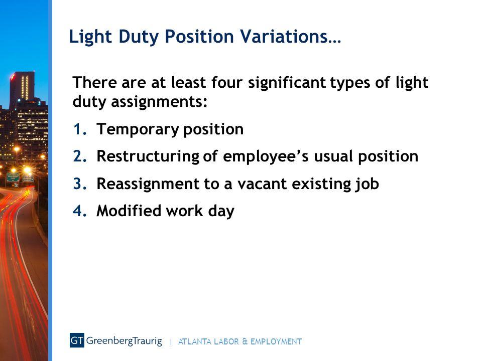 Light Duty Position Variations…