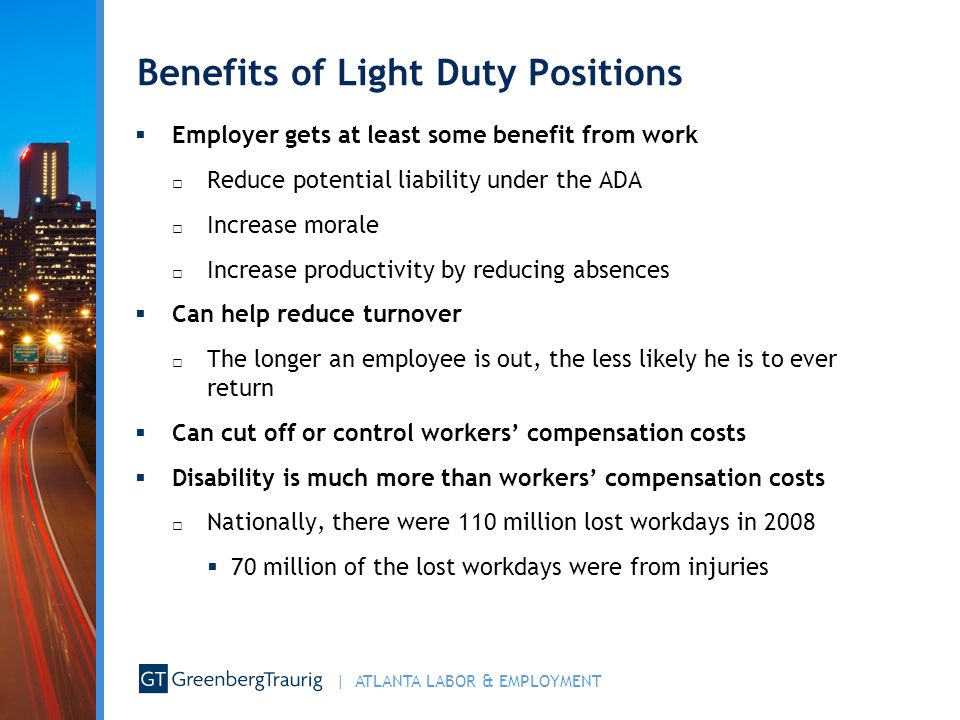 Benefits of Light Duty Positions