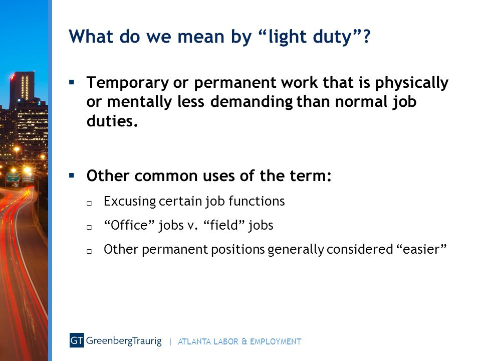 What do we mean by light duty