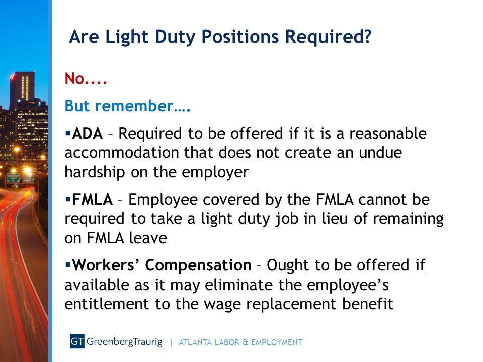 Are Light Duty Positions Required