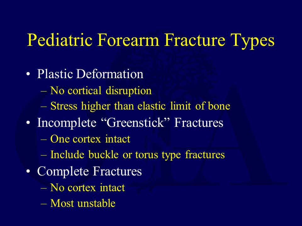 Pediatric Forearm Fracture Types