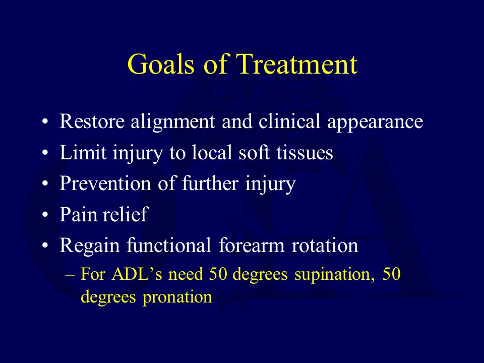 Goals of Treatment Restore alignment and clinical appearance