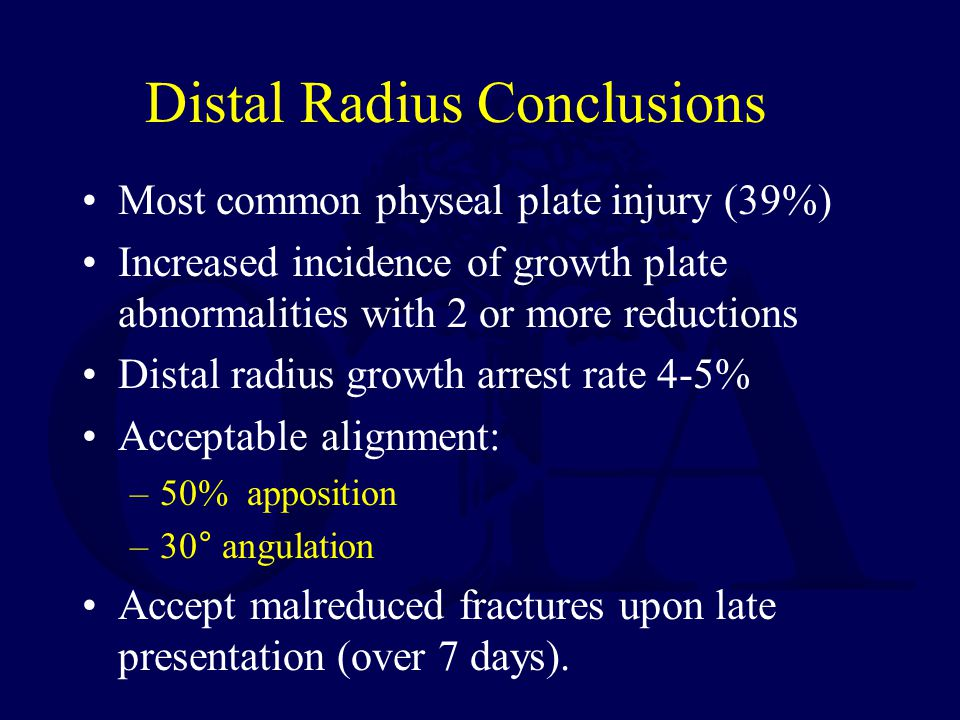 Distal Radius Conclusions