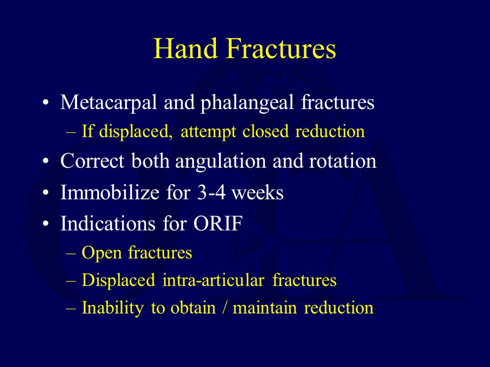 Hand Fractures Metacarpal and phalangeal fractures