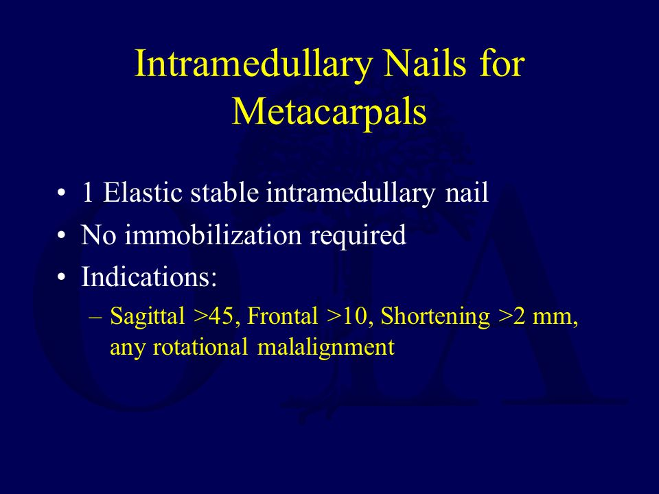 Intramedullary Nails for Metacarpals
