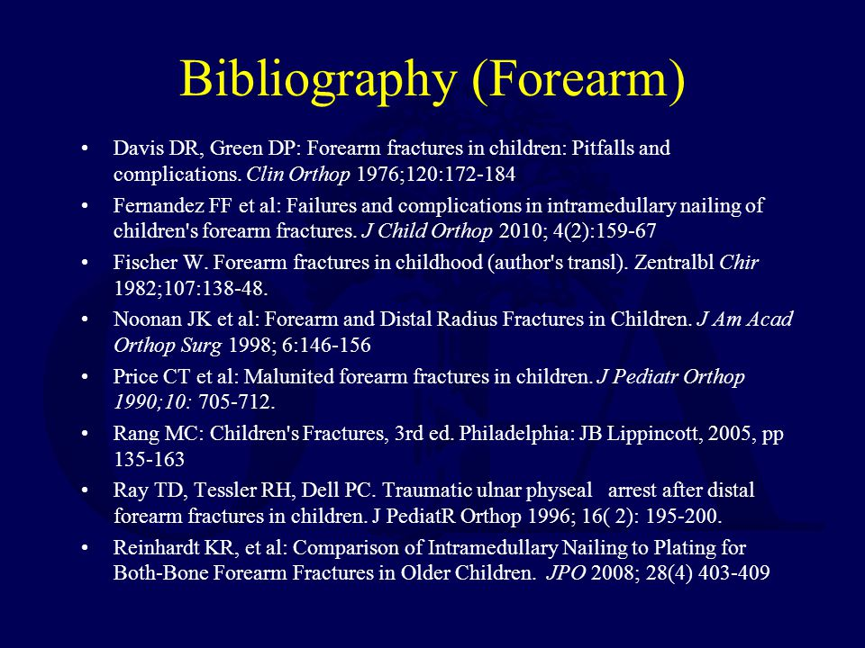 Bibliography (Forearm)