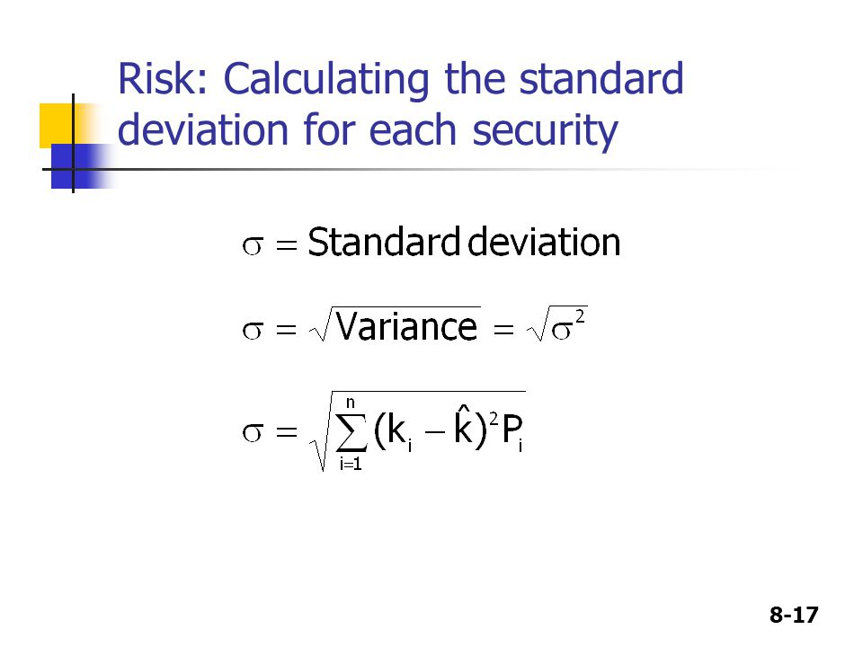 Risk: Calculating the standard deviation for each security
