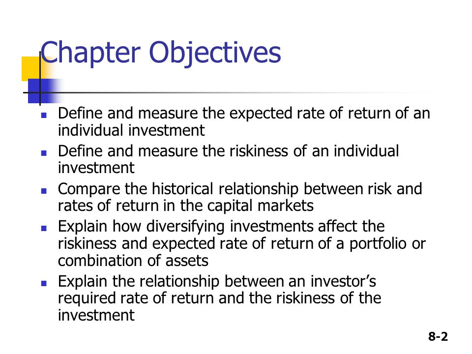 Chapter Objectives Define and measure the expected rate of return of an individual investment.