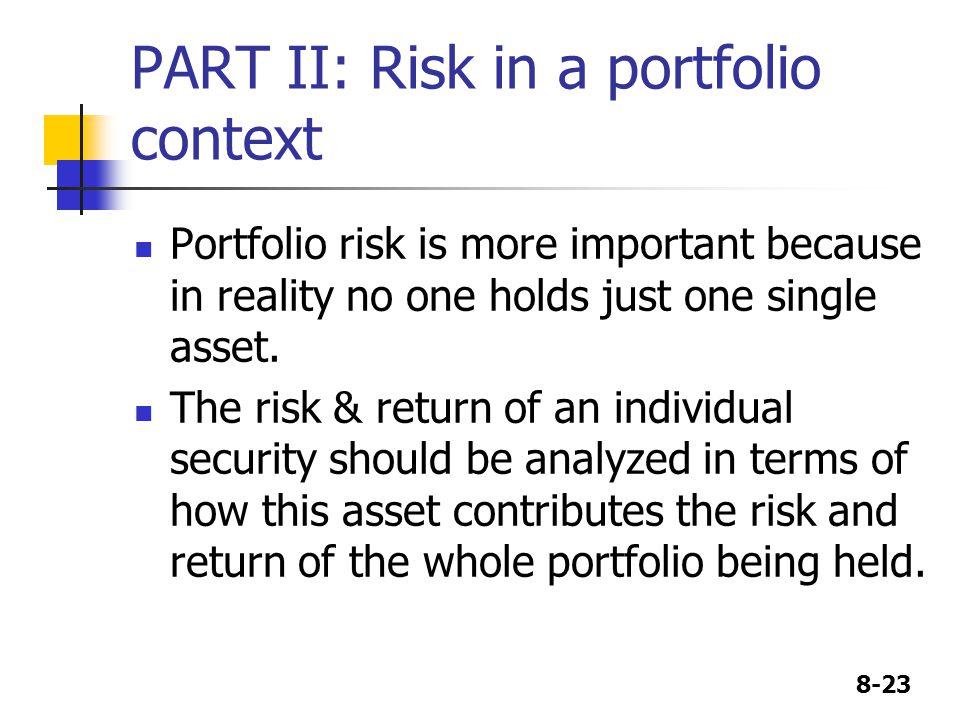 PART II: Risk in a portfolio context