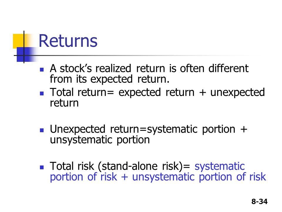 Returns A stock's realized return is often different from its expected return. Total return= expected return + unexpected return.