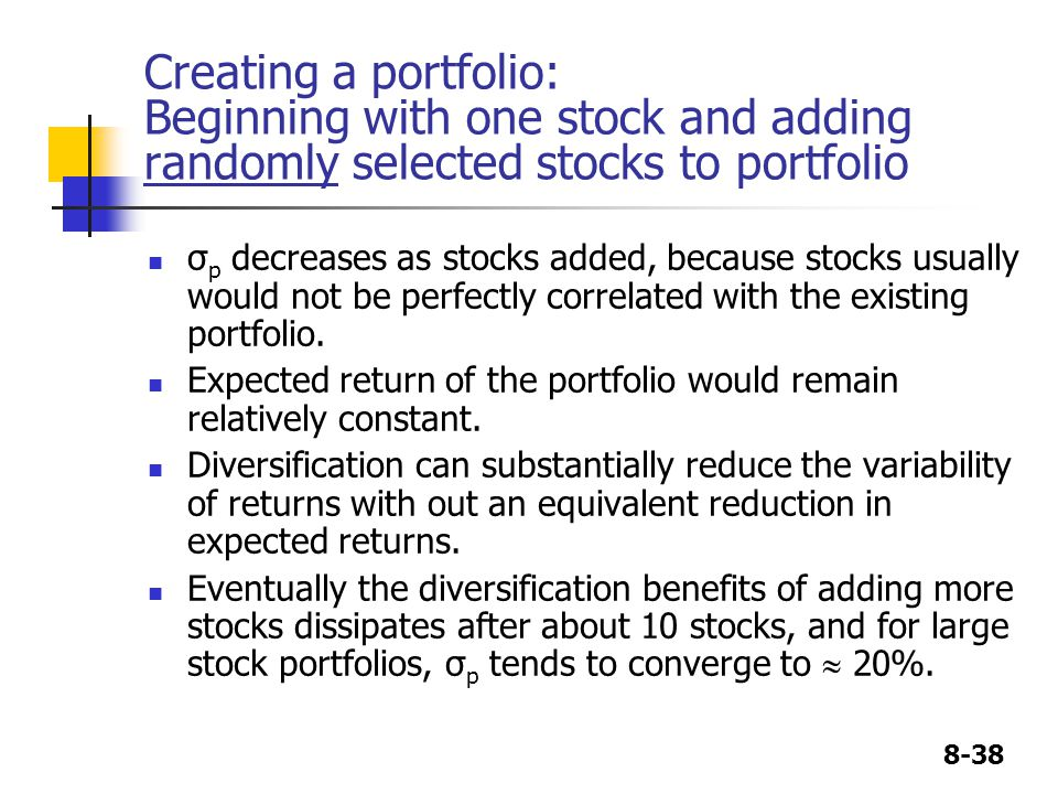 Creating a portfolio: Beginning with one stock and adding randomly selected stocks to portfolio