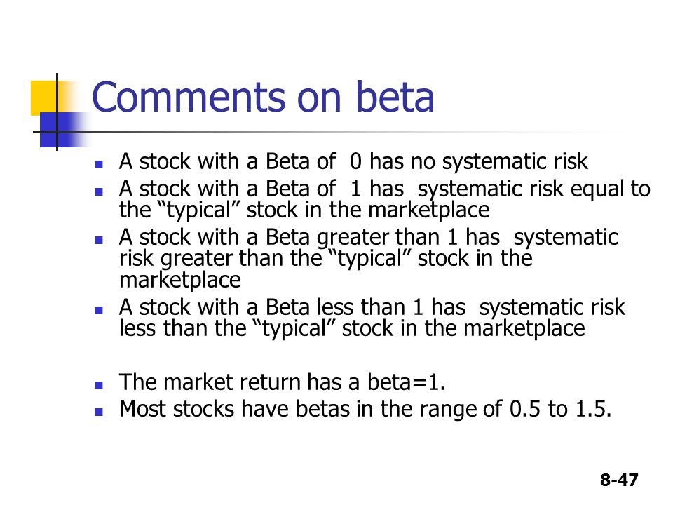 Comments on beta A stock with a Beta of 0 has no systematic risk