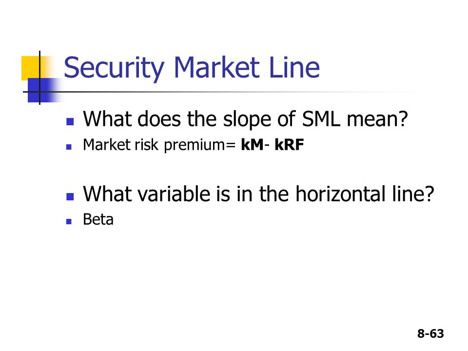 Security Market Line What does the slope of SML mean