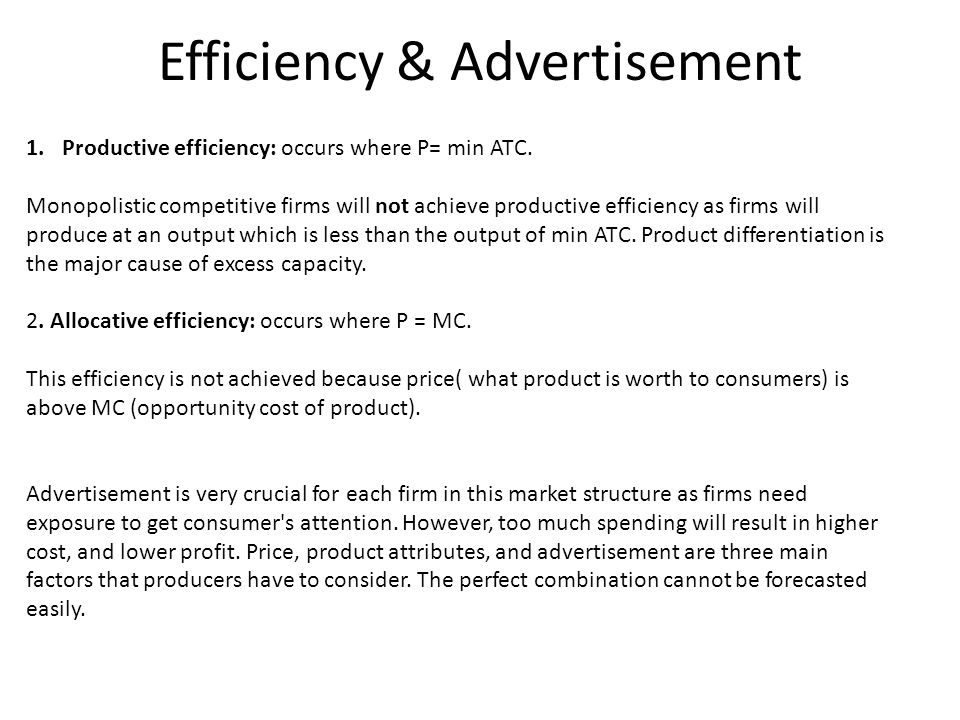 Efficiency & Advertisement