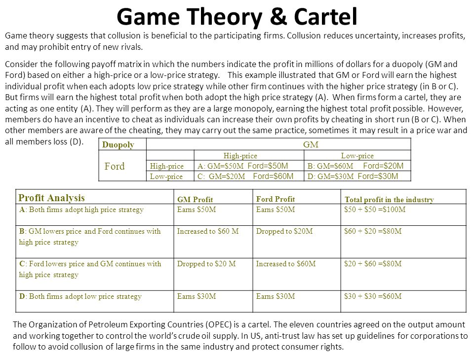 Game Theory & Cartel Ford Profit Analysis