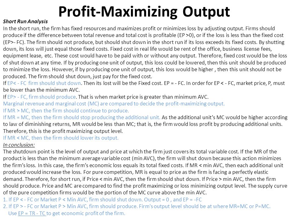 Profit-Maximizing Output