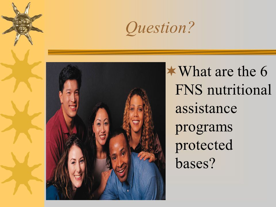 Question What are the 6 FNS nutritional assistance programs protected bases Mind Map activity for visualization.