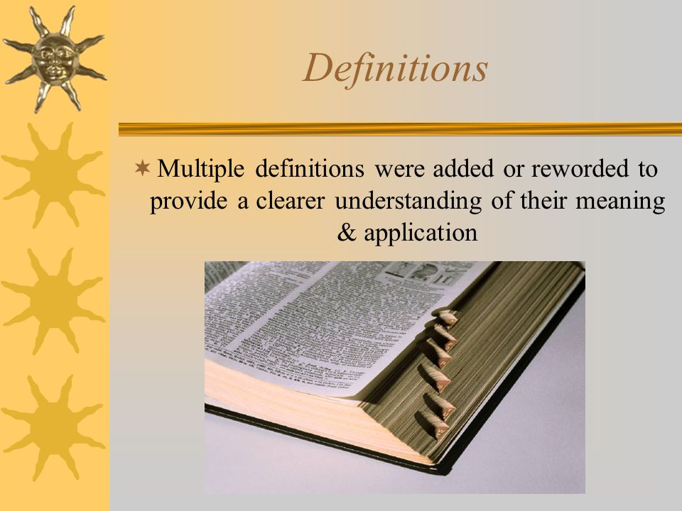 Definitions Multiple definitions were added or reworded to provide a clearer understanding of their meaning & application.