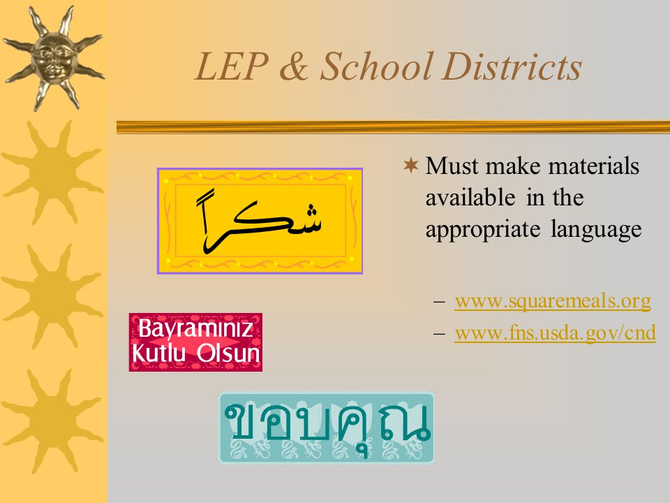 LEP & School Districts Must make materials available in the appropriate language. www.squaremeals.org.