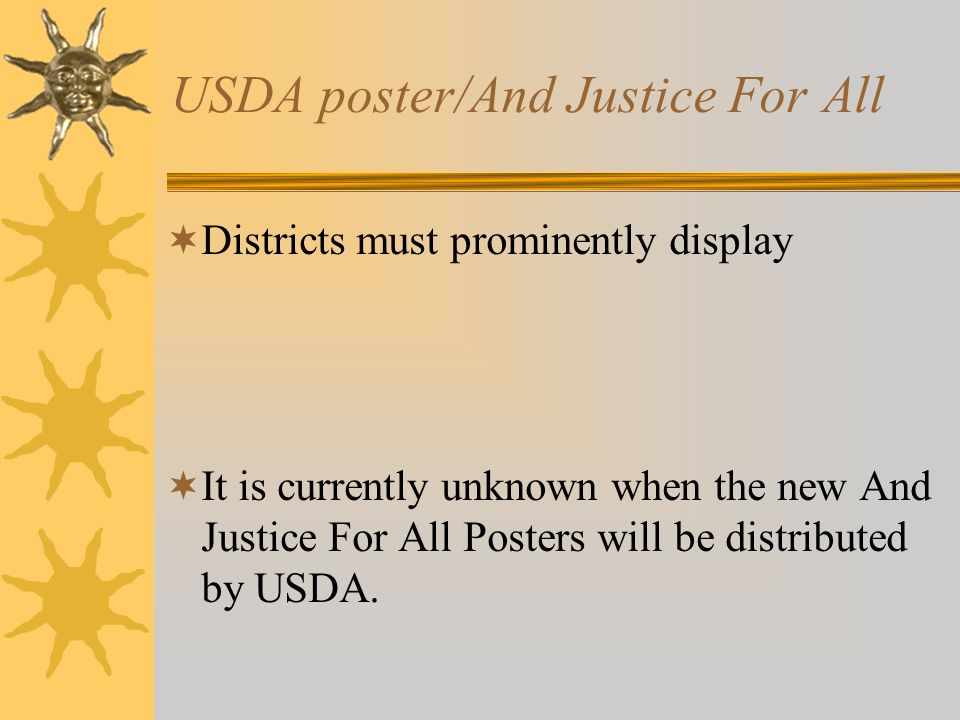 USDA poster/And Justice For All