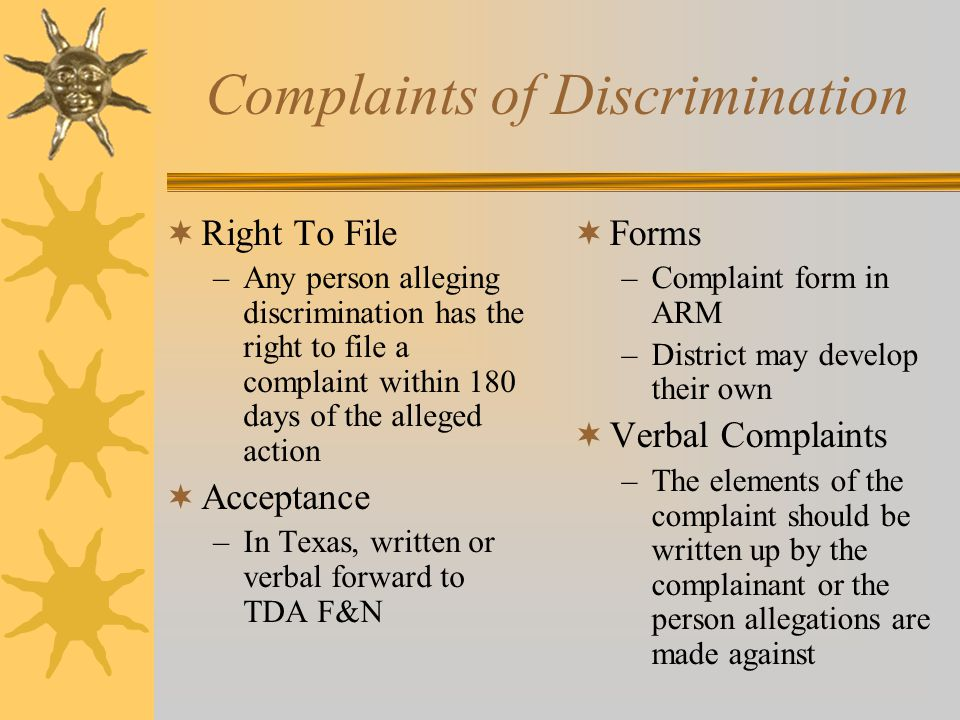 Complaints of Discrimination