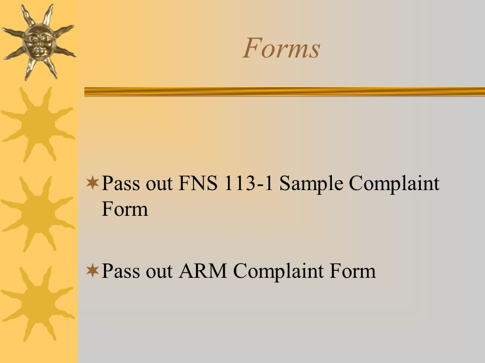 Forms Pass out FNS 113-1 Sample Complaint Form