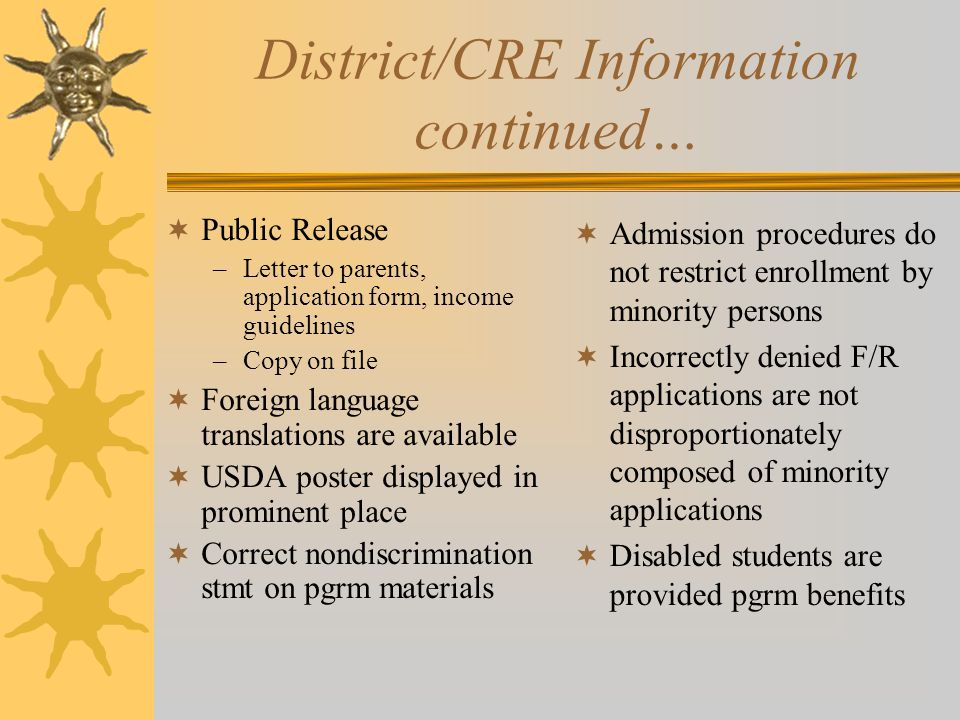 District/CRE Information continued…