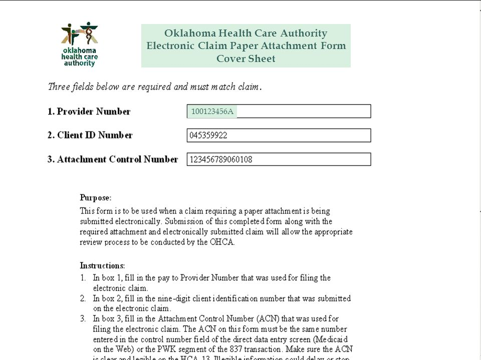 Oklahoma Health Care Authority Electronic Claim Paper Attachment Form